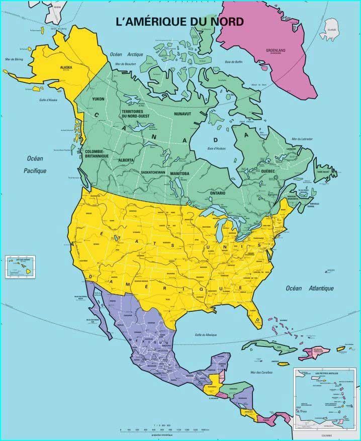 Pays Amérique du nord - Carte