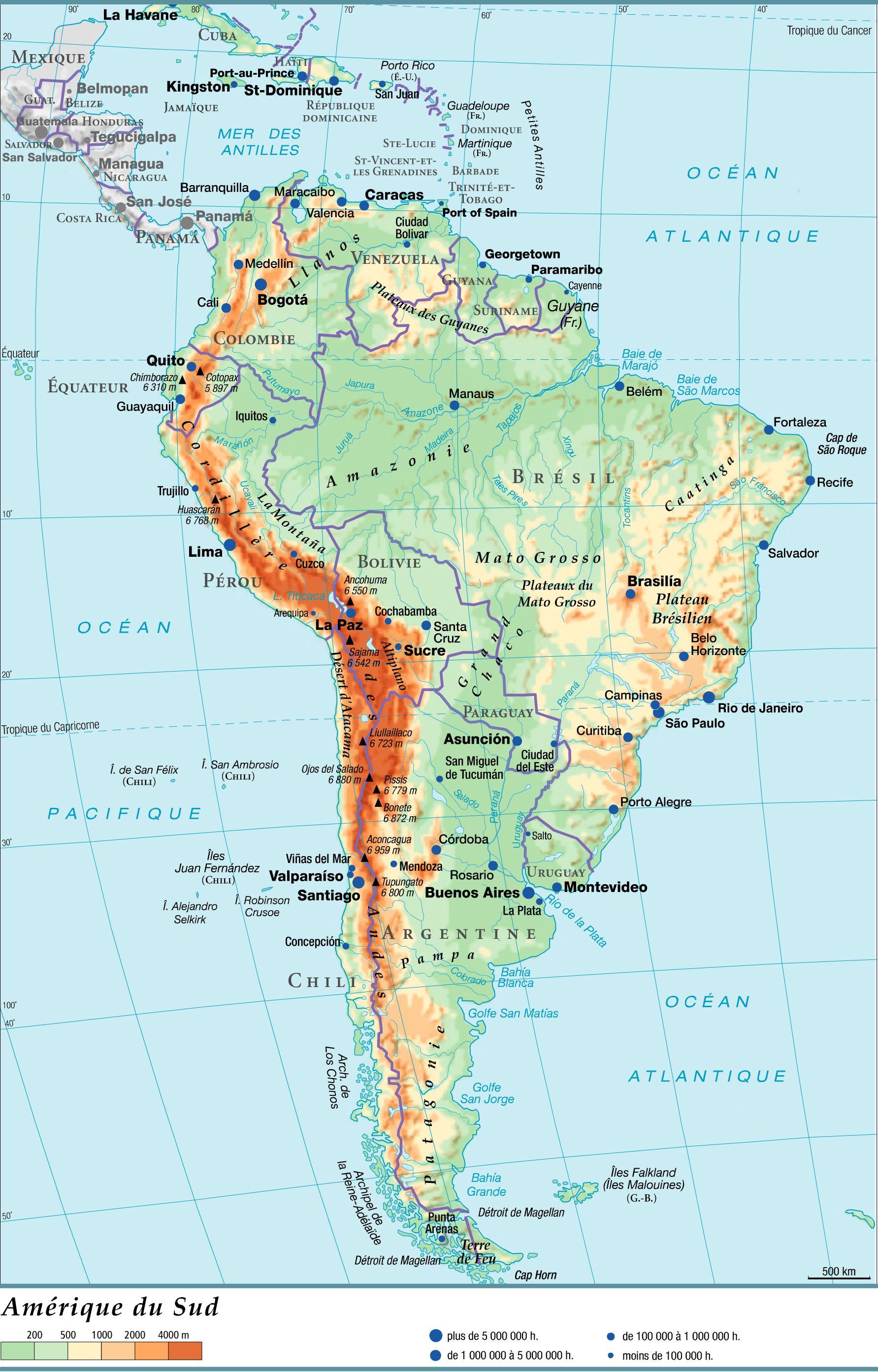 Carte Amérique-du-Sud - Relief et pays