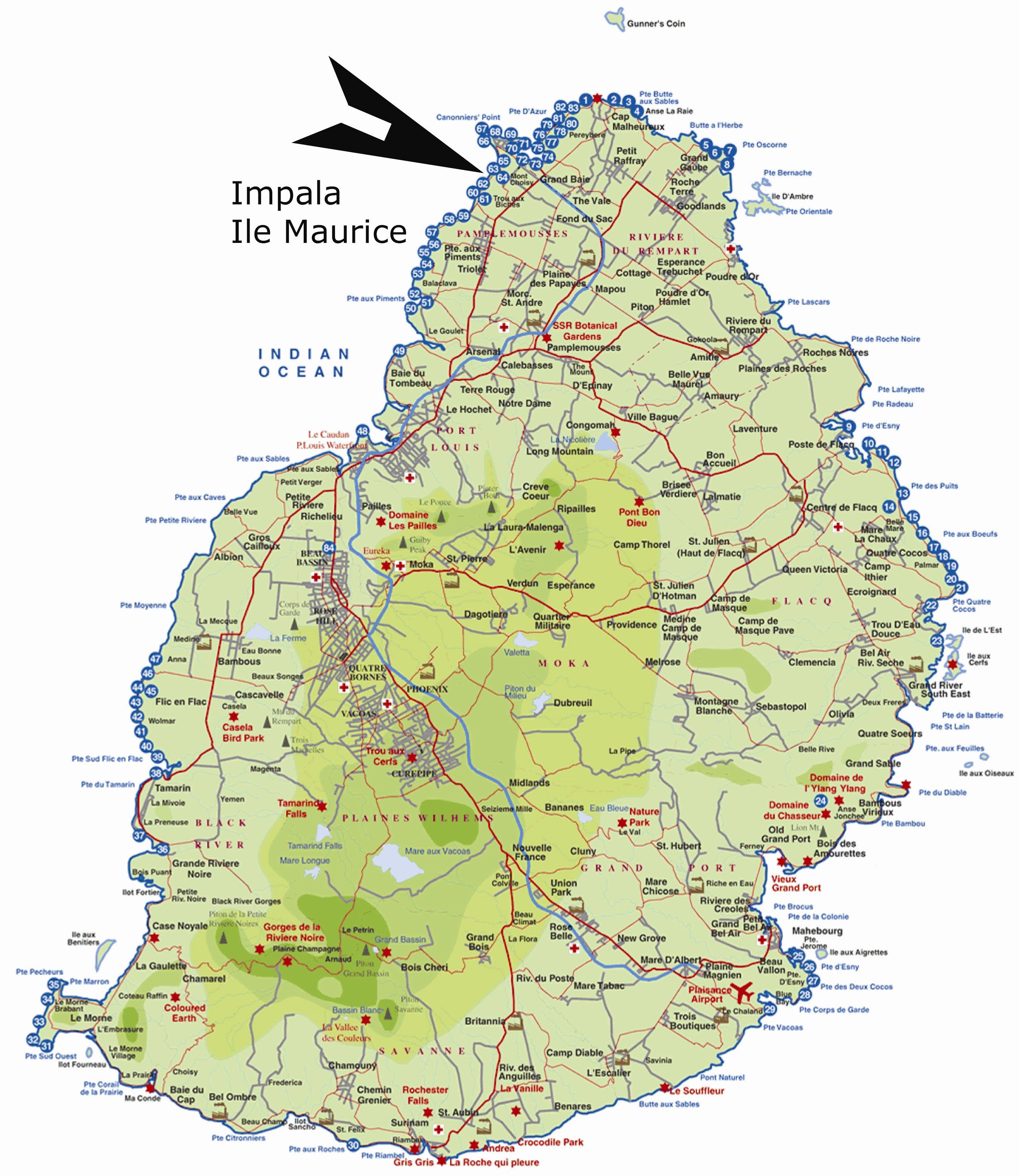 Carte île Maurice » Vacances   Arts  Guides Voyages