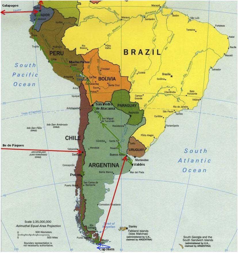 Amérique du Sud - Carte monde
