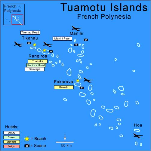 Atolls des Tuamotu - Carte