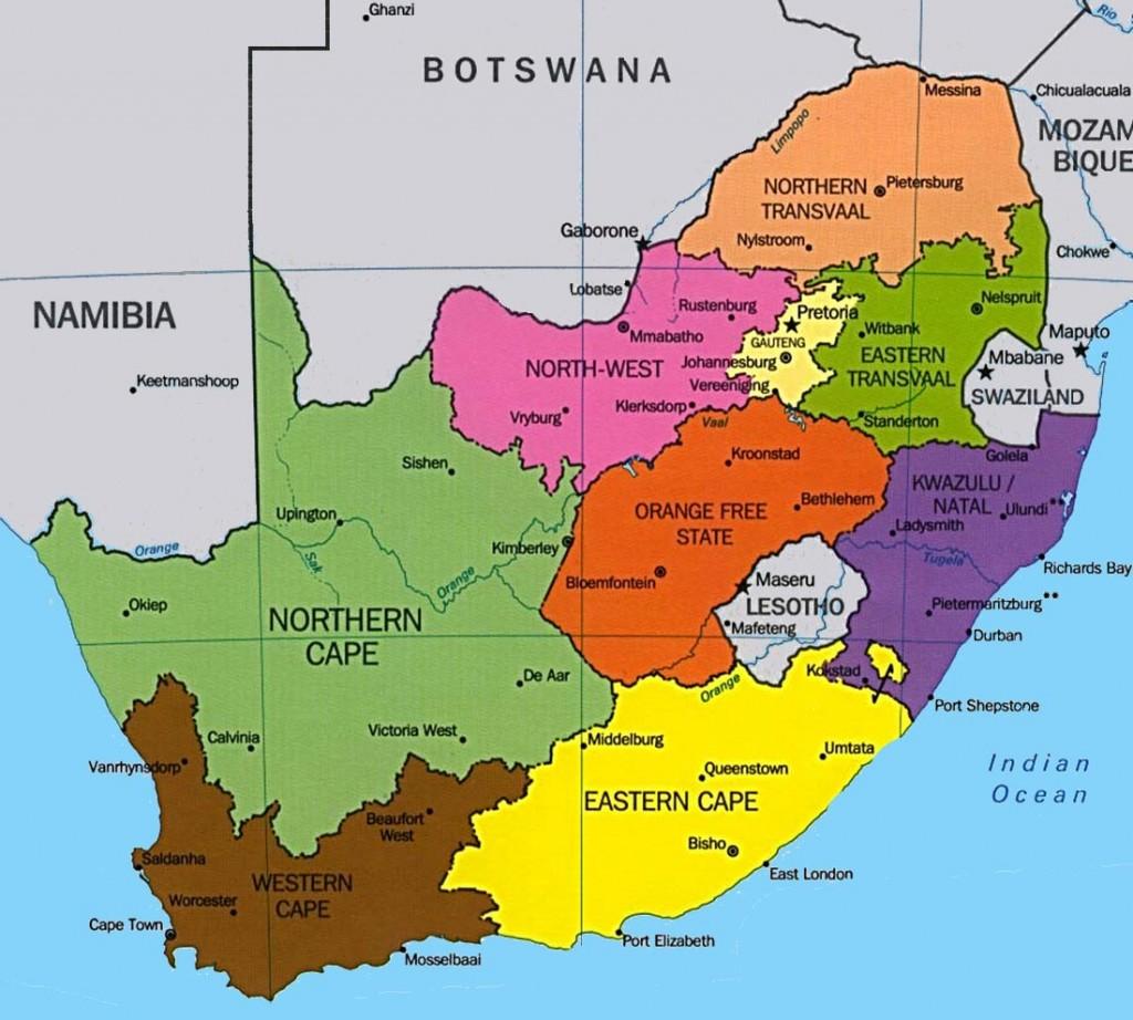 Carte géographique Afrique du Sud.