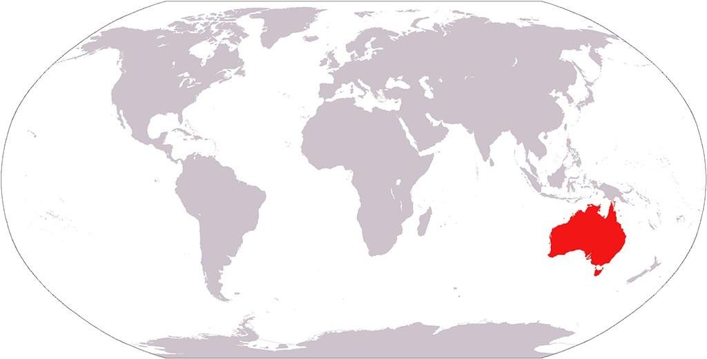 Australie sur la carte du monde