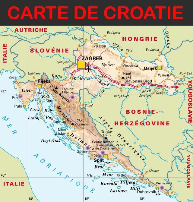 Carte de Croatie » Vacances - Arts- Guides Voyages