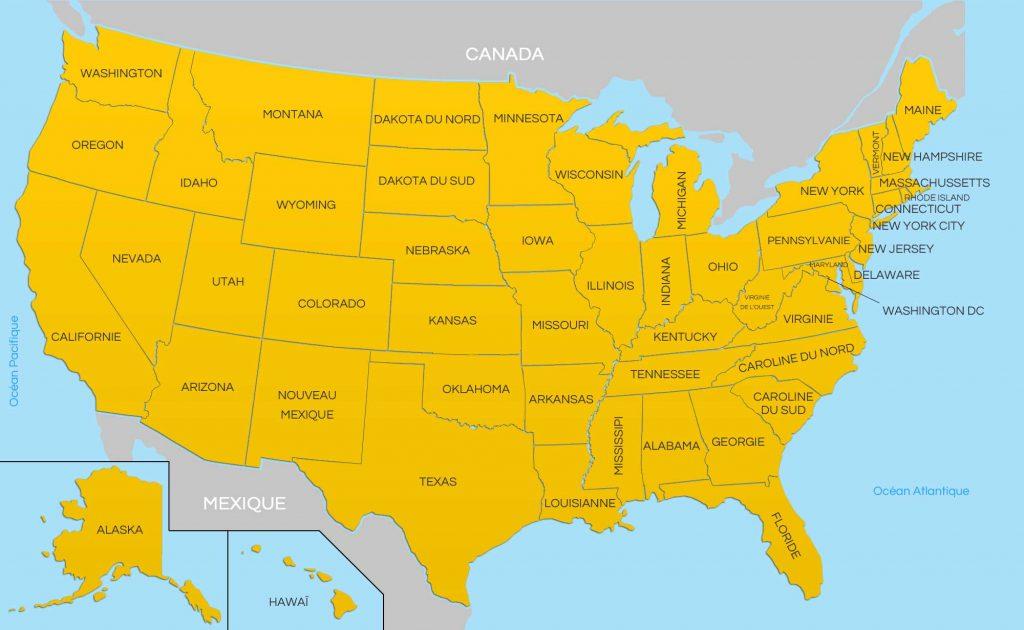 Carte des états unis - USA