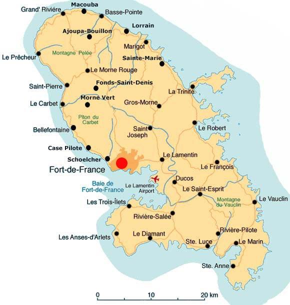 Carte de fort-de-france - Martinique