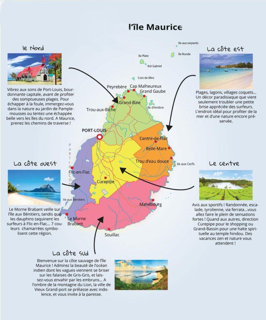 Carte Ile Maurice - tourisme