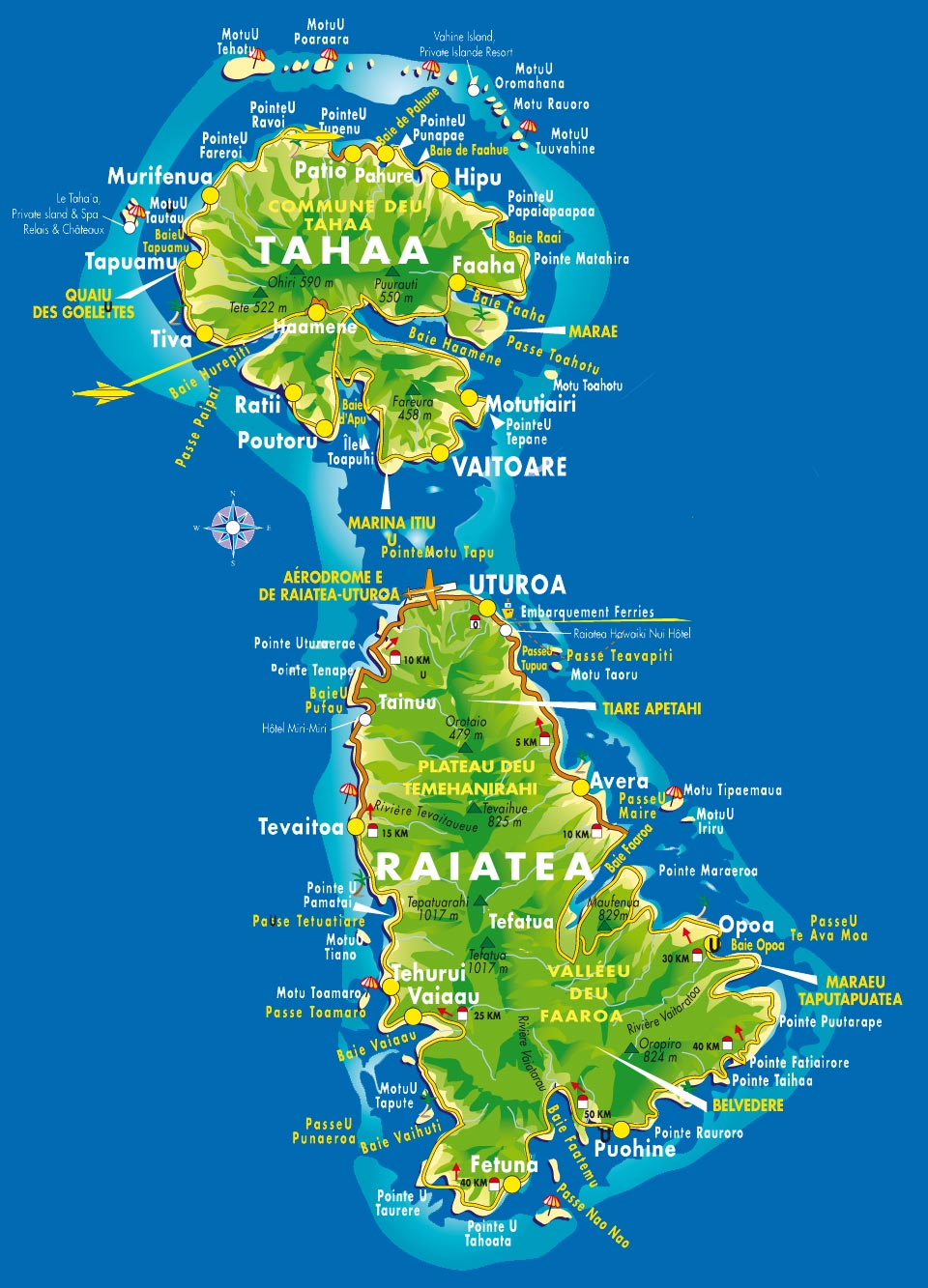 carte des îles Raiatea et Tahaa