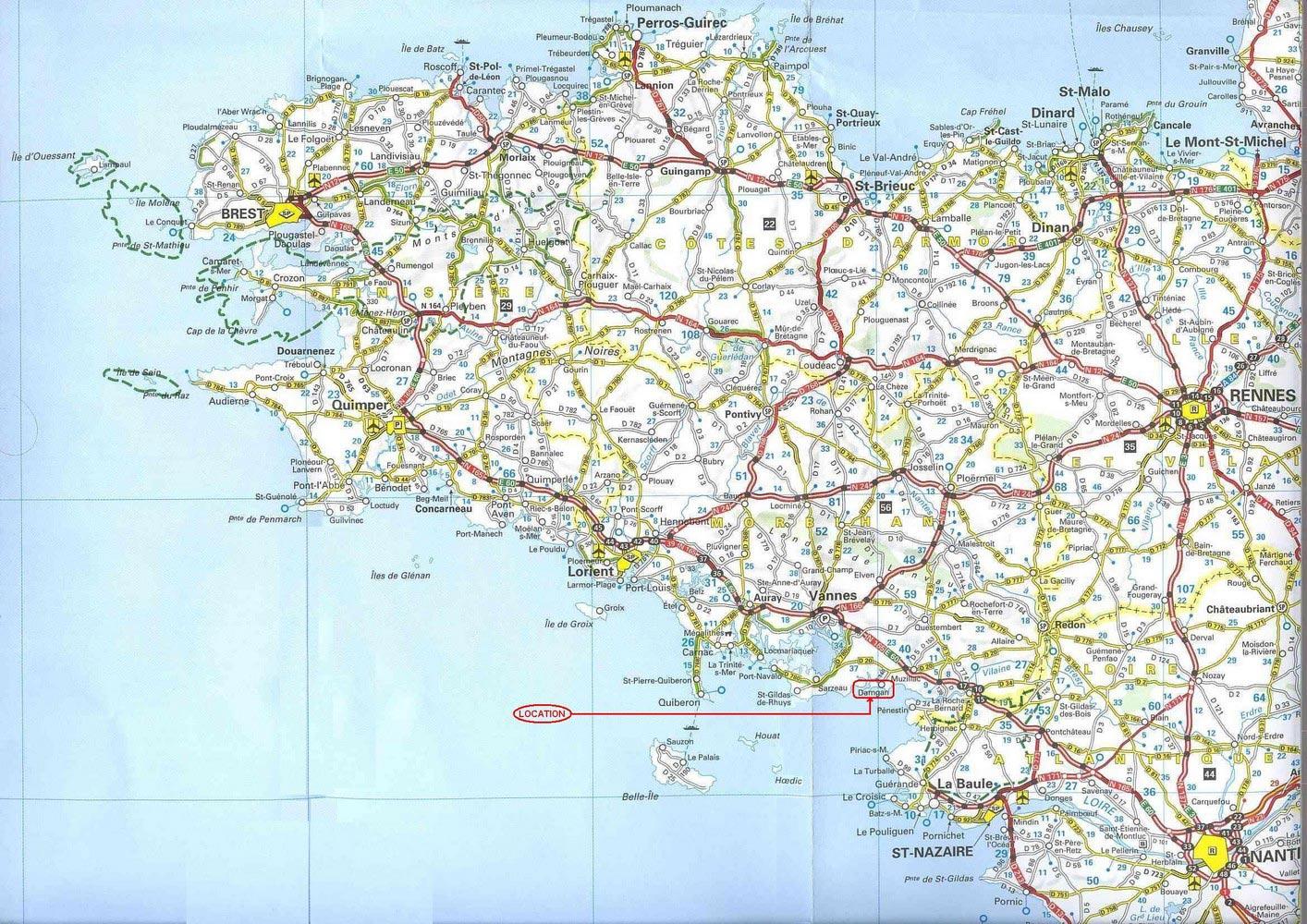 Bretagne - Carte des routes