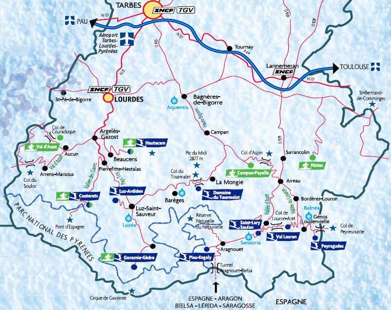 Pyrénées station de ski - carte