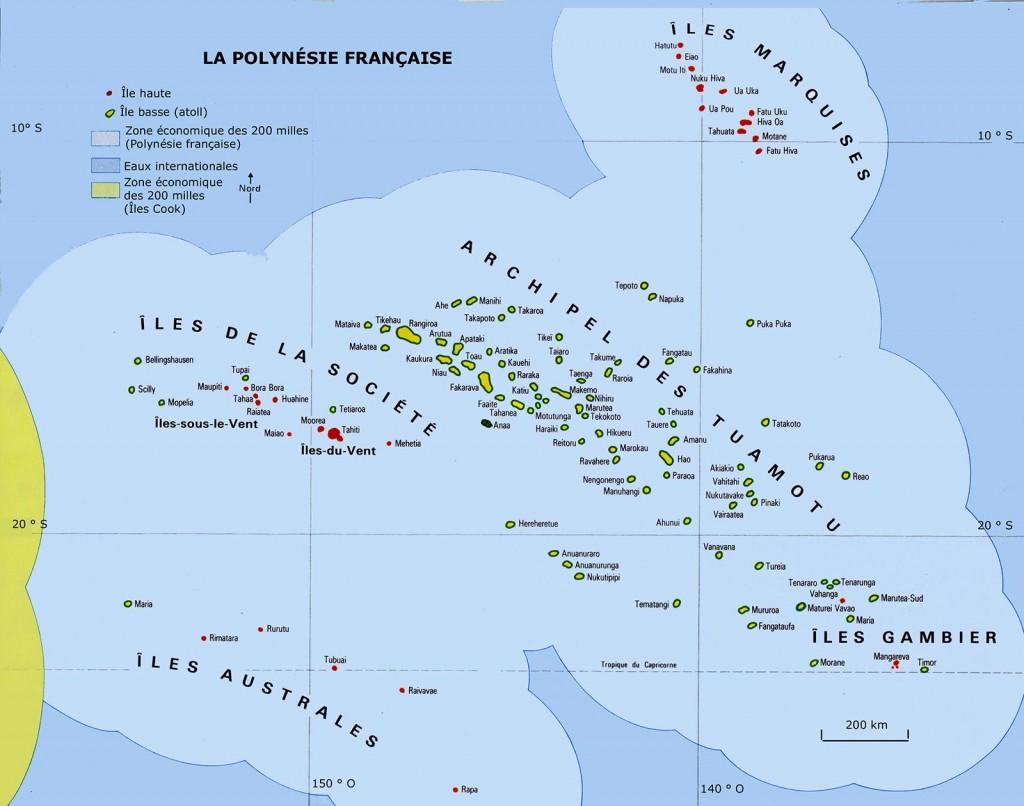 Polynésie française - Carte des îles et archipels