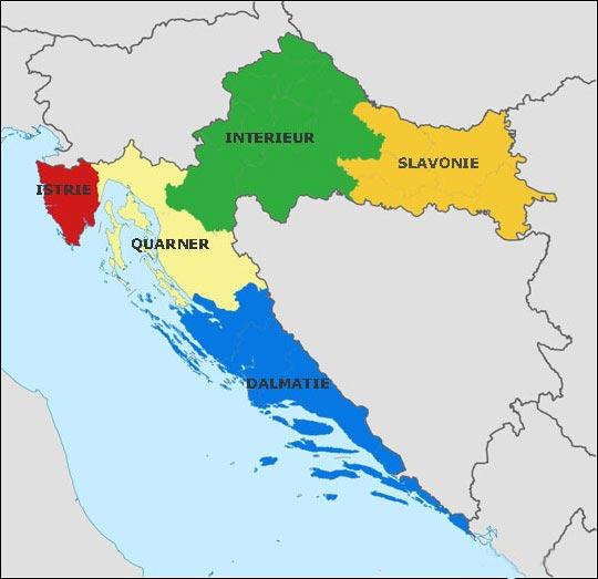 Croatie - Carte des régions