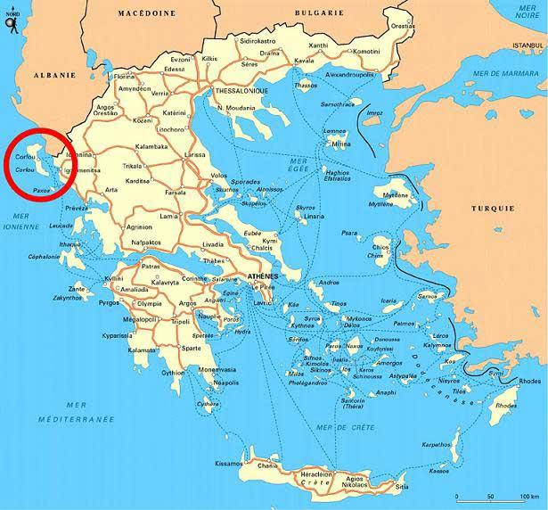Carte de Corfou - Ile de Grèce