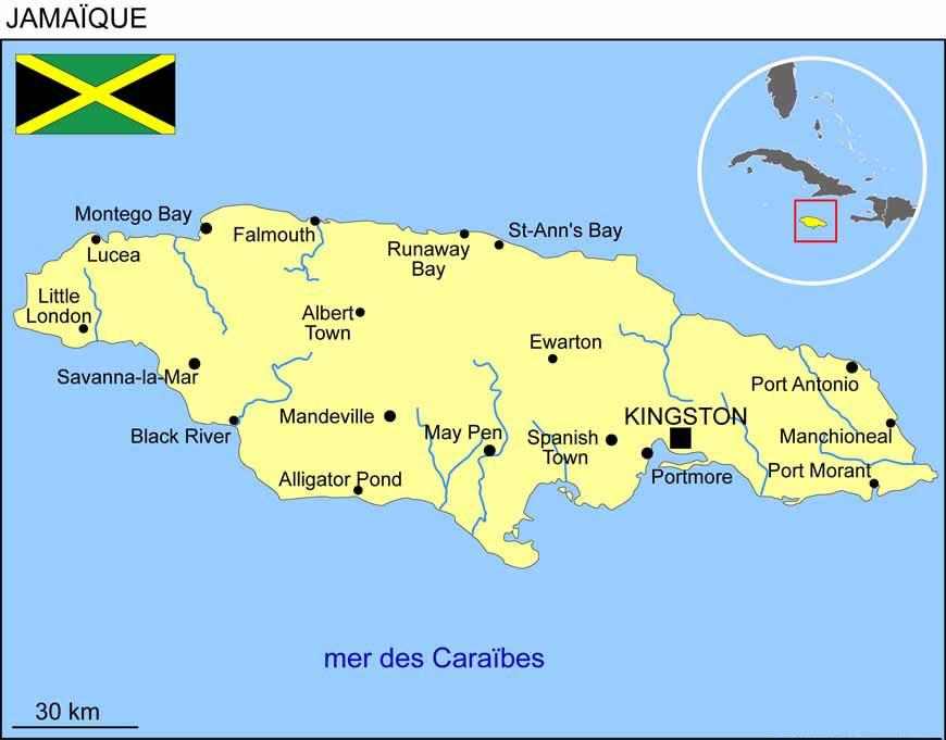 Carte de la Jamaique