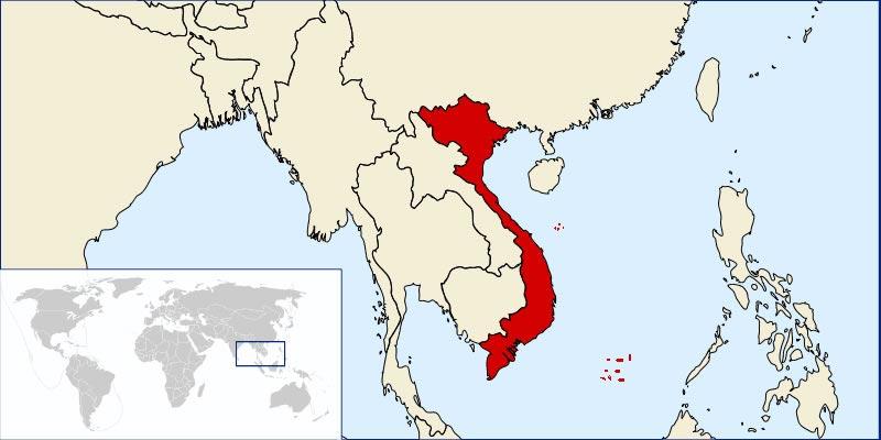 Le Vietnam sur la carte du monde