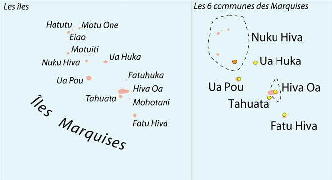 Communes des Marquises - Carte