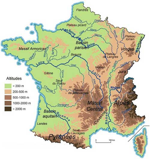 Carte du relief des Alpes