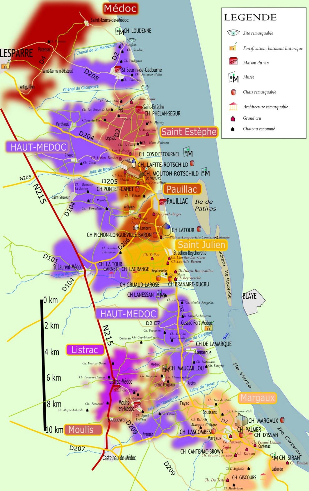 Route des châteaux des vins de Bordeaux