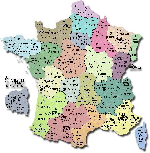 Carte - France départements