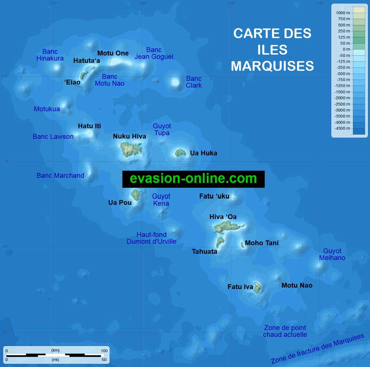 Carte détaillée des îles Marquises