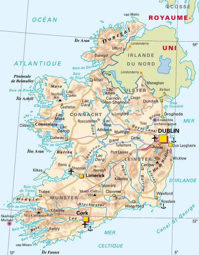 Carte des villes et Comtés en Irlande