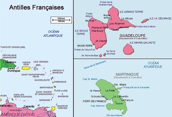 Carte Martinique-Guadeloupe