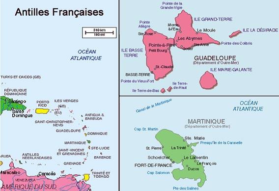 Carte Martinique-Guadeloupe