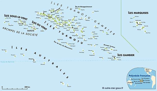 Polynésie française - Carte des îles