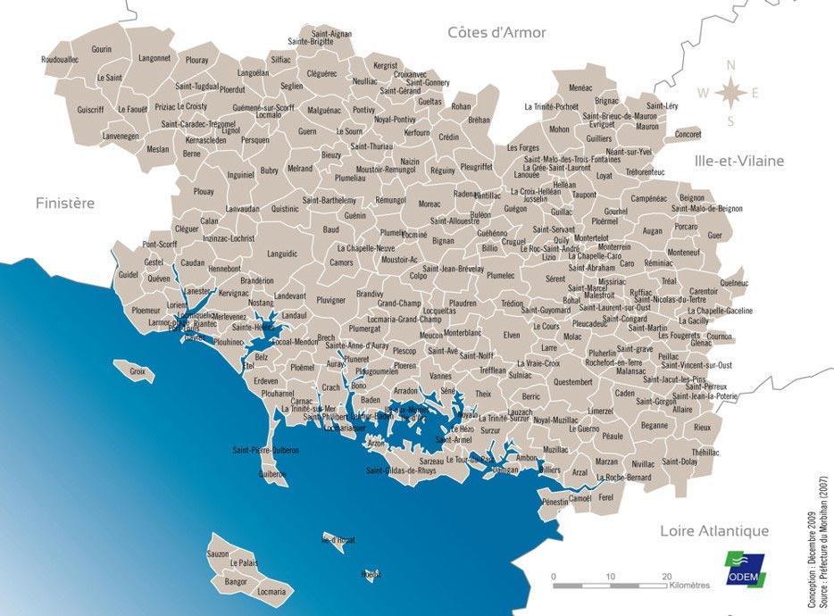 Morbihan Carte - Limites des communes du Morbihan