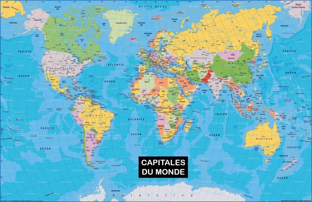 Carte du monde - Noms des Capitales