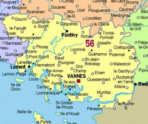 Carte du Morbihan - 56