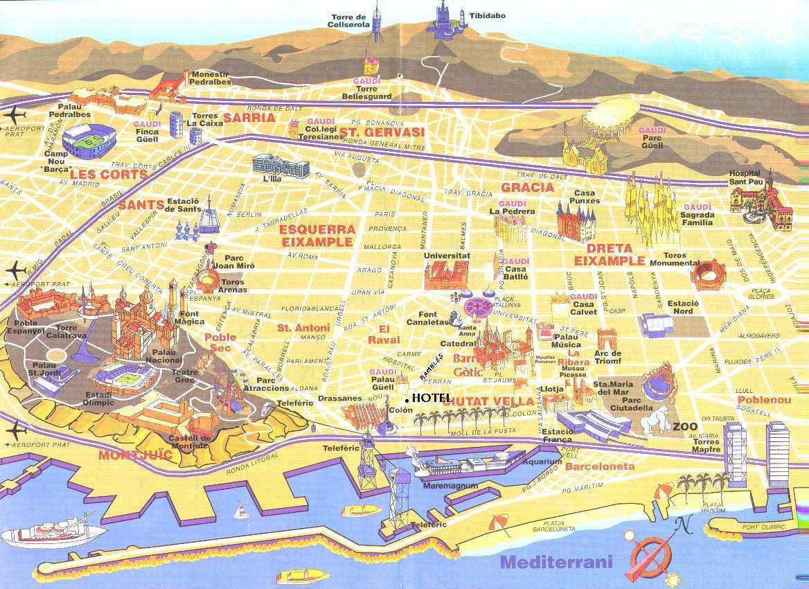 Carte touristique de Barcelone