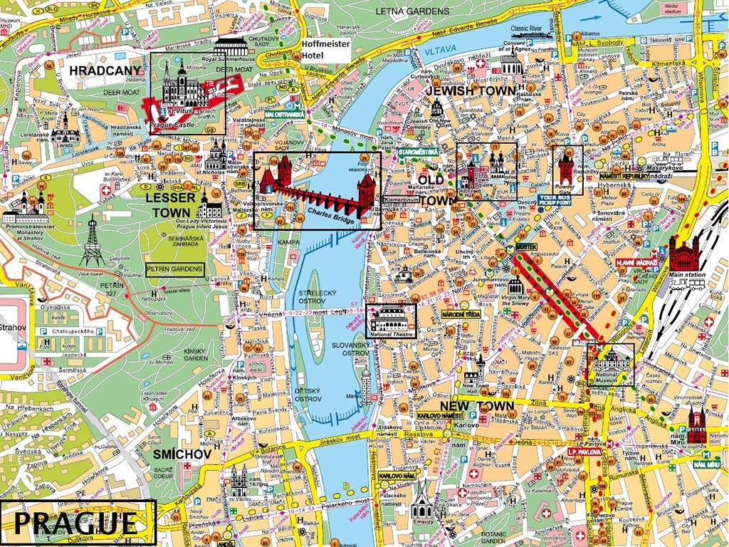 Carte touristique - Centre ville de Prague