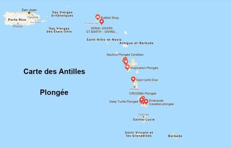 Plongée - Carte des Antilles