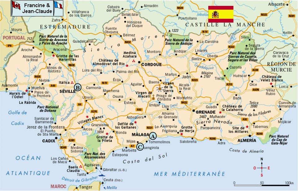 Carte Andalousie Sud.Andalousie Vacances Arts Guides Voyages