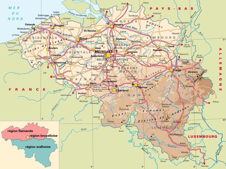 Carte Belgique Complete.Carte De Belgique Vacances Arts Guides Voyages