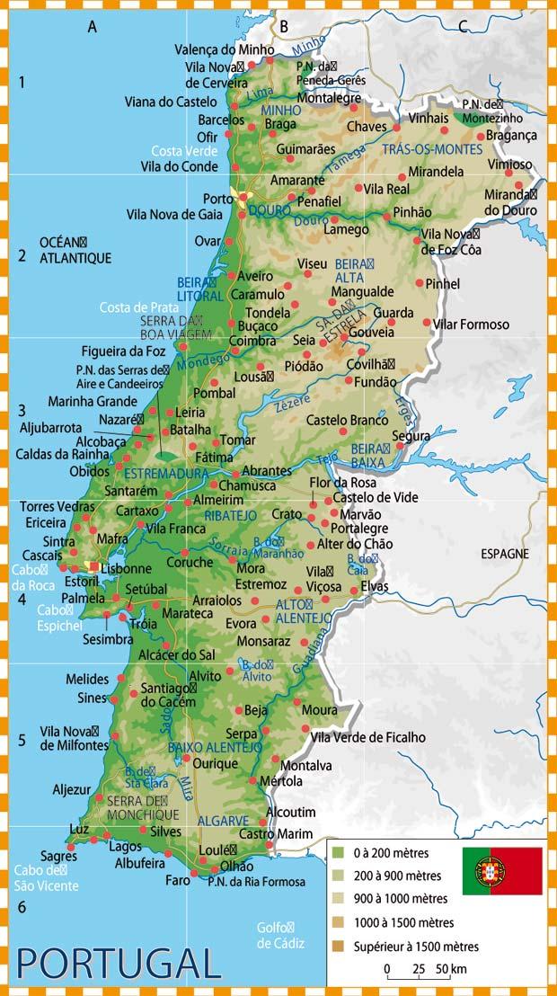 Portugal - Carte détaillée