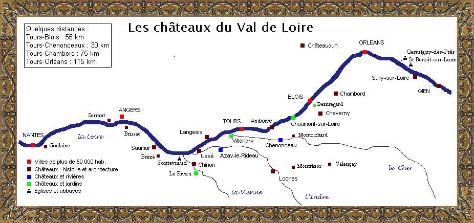 carte des chateaux de la loire