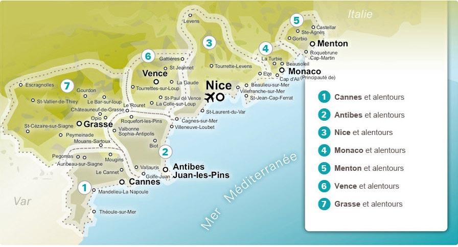 Côte d'Azur carte