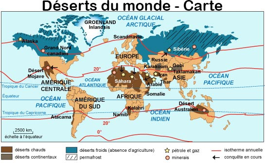 Carte des déserts dans le monde