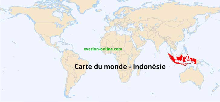 Indonésie sur la carte du monde