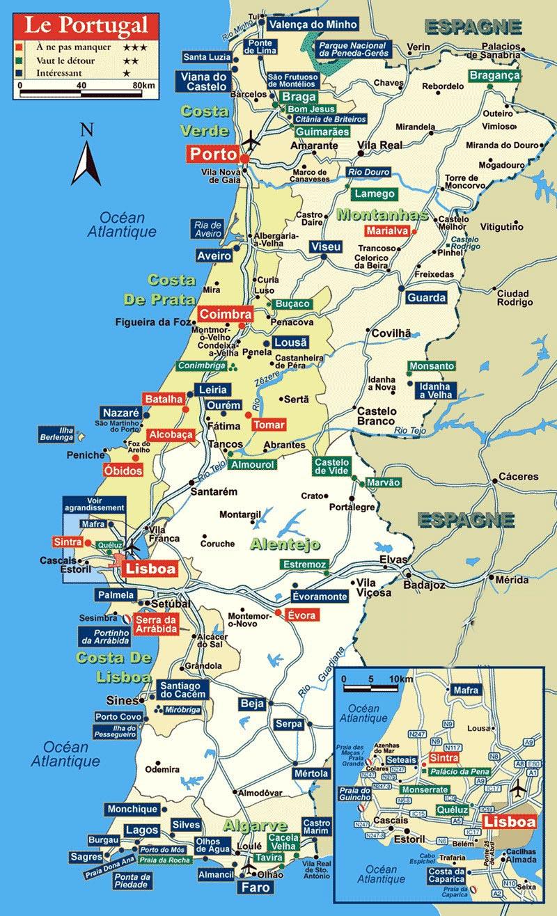 Carte touristique du portugal