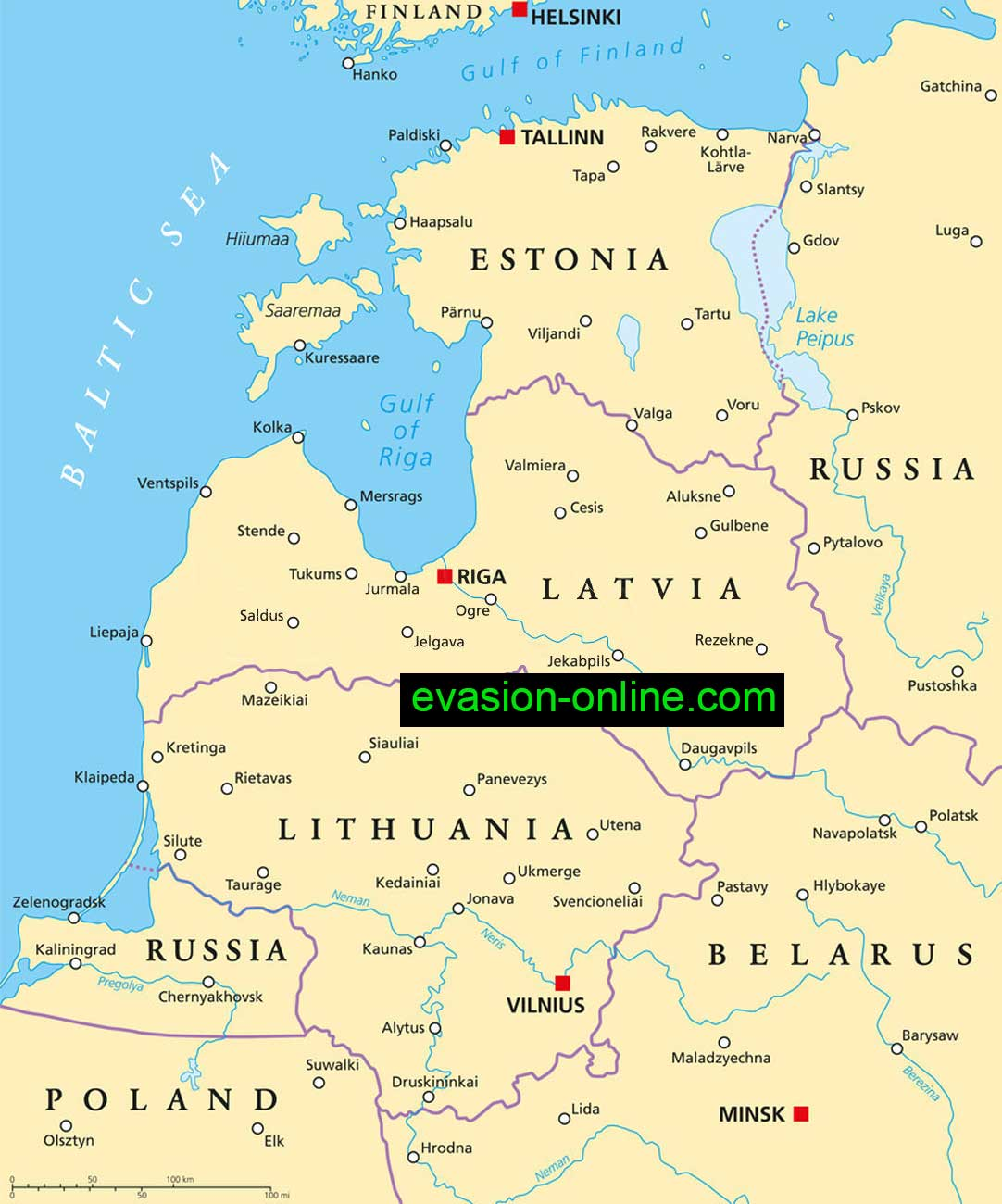 Carte des Pays Baltes politique