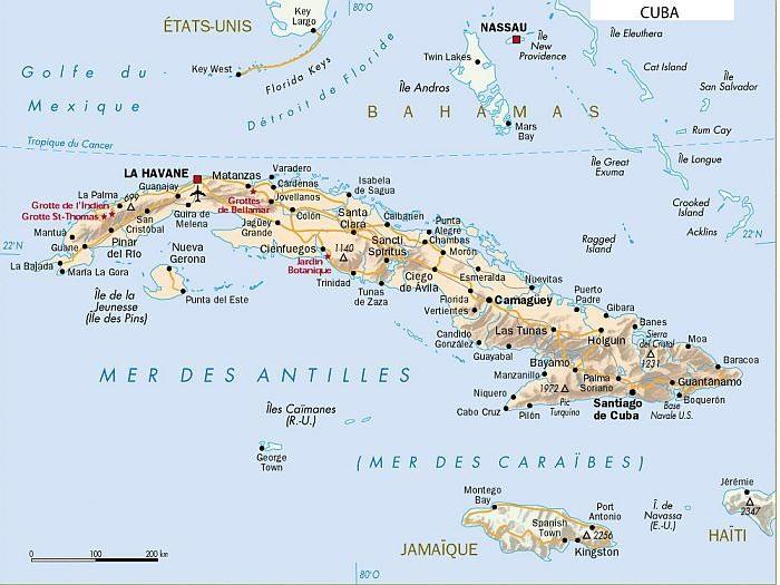 Carte Cuba.Cuba Carte Geographique Vacances Arts Guides Voyages