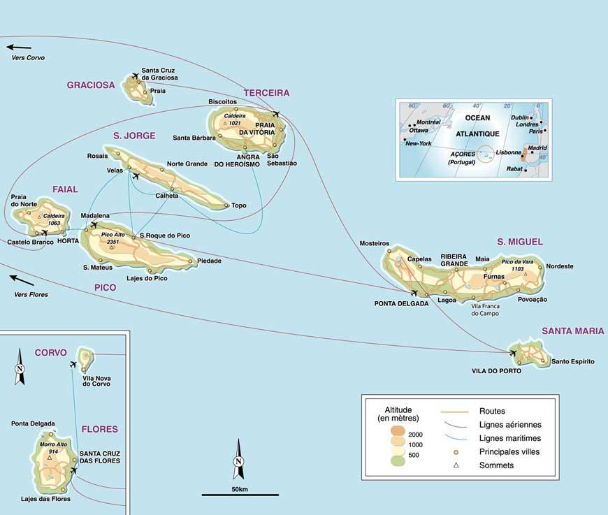 Carte des Açores