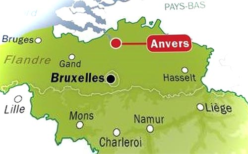 Anvers - Carte de Belgique