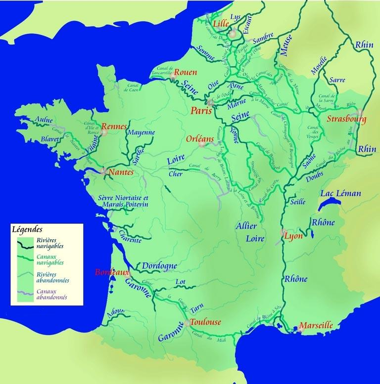Carte des fleuves et rivières