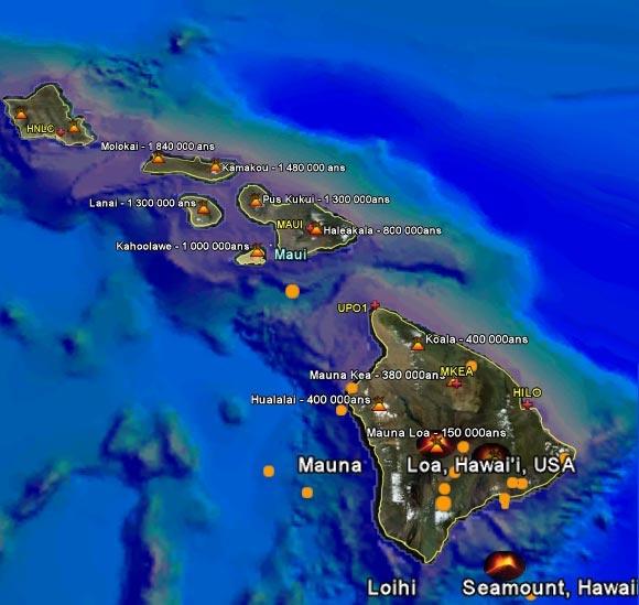 Carte des volcans à Hawaii