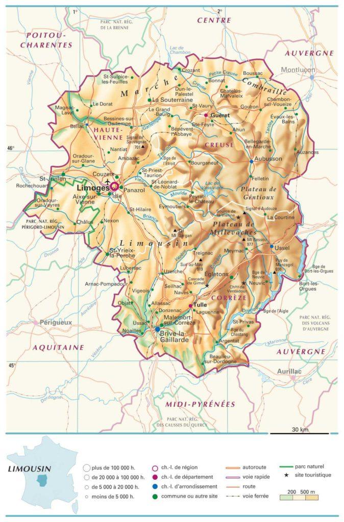 Carte du Limousin détaillée