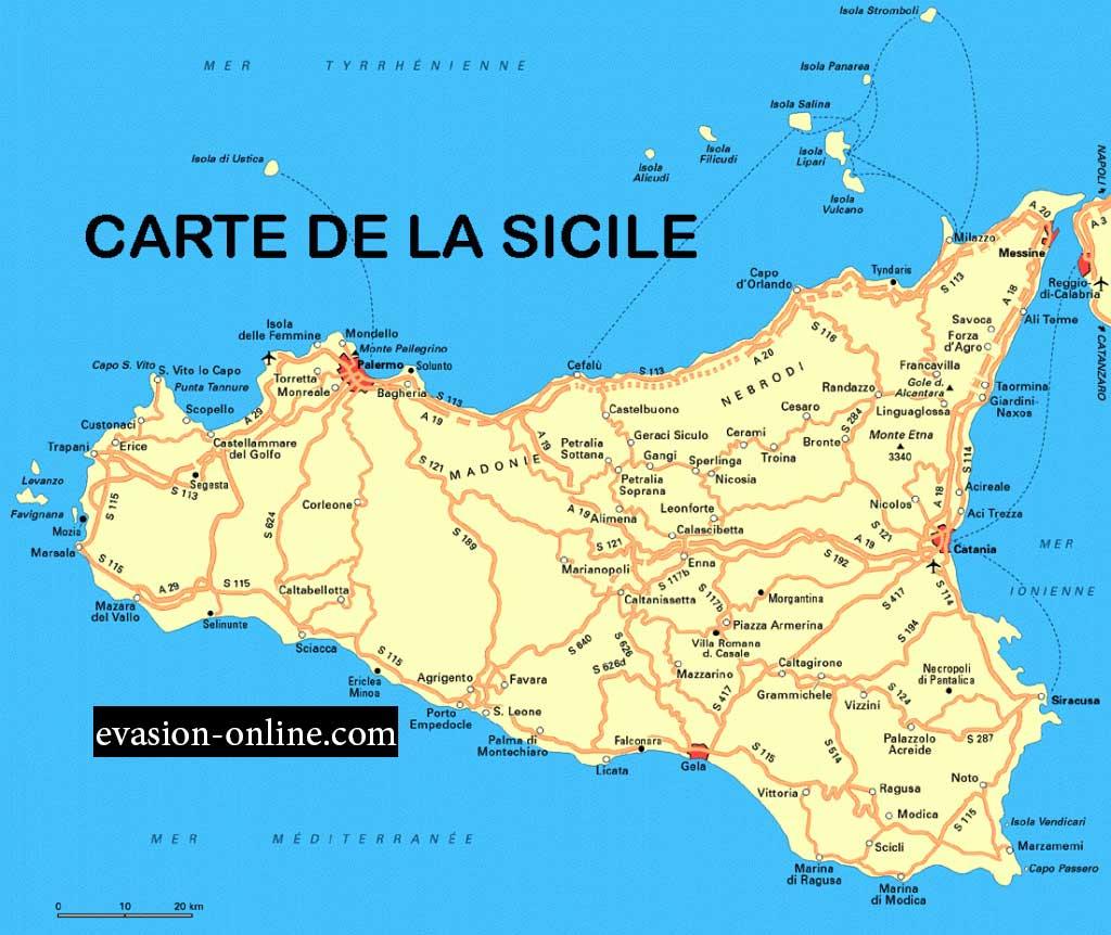 La sicile vacances arts guides voyages - Dimension de la sicile ...